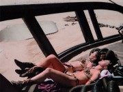 Carrie Fisher - Sunbathing Dressed As Slave Leia With Her Stunt Double On The Set Of 'Return Of The Jedi' -=ARCHIVE=-