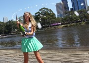 Виктория Азаренко, фото 179. Victoria Azarenka Posing with the Australian Open Trophy along the Yarra River in Melbourne - 29.01.2012, foto 179