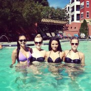 Nina Dobrev, Kat Graham, Candice Accola - wearing bikini tops in a pool 08/12/12 Twitpic